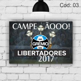 Quadro Grêmio  Liberta 2017   21x29,7cm MDF 3mm